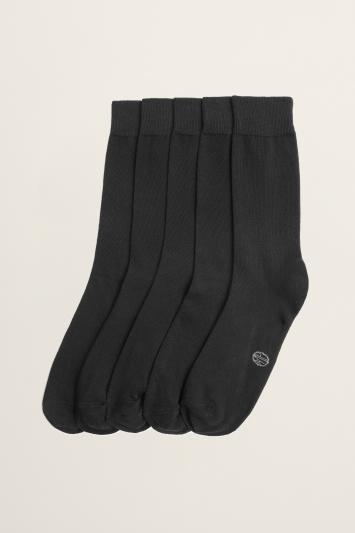 Moss Bros Black 5-Pack Cotton-Blend Socks