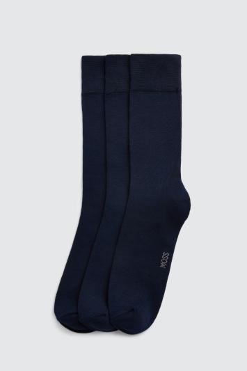 Moss Bros Navy 3-Pack Bamboo Socks