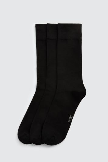 Moss Bros Black 3-Pack Bamboo Socks