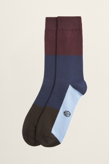 Red & Blue Colour Block Bamboo Sock