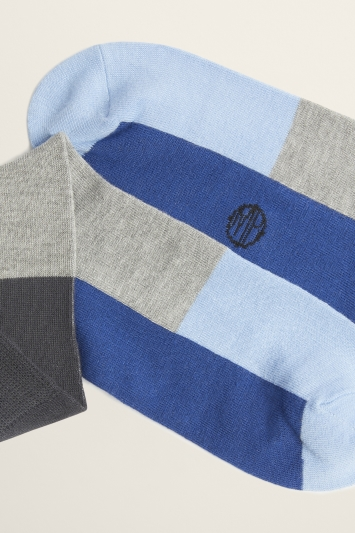 Moss Bros Grey & Blue Colour Block Bamboo Sock
