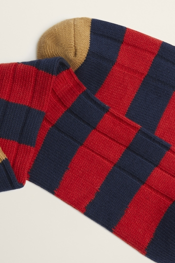 Red, Navy & Camel Club Stripe Chunky Sock