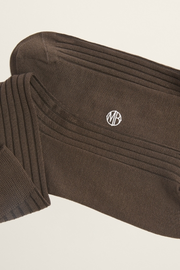 Chocolate Brown Fine Ribbed Sock
