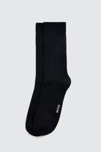 Navy Fine Ribbed Sock