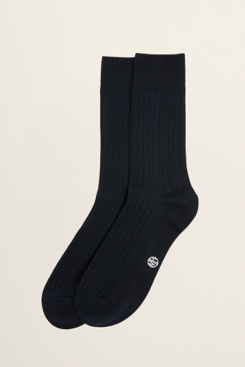 Moss Bros Navy Fine Ribbed Sock
