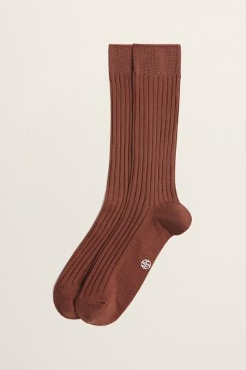 Rust Fine Ribbed Sock