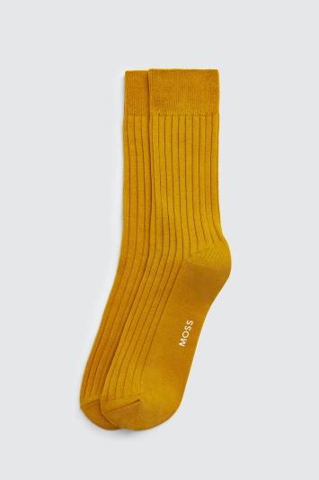 Mustard Fine Ribbed Sock