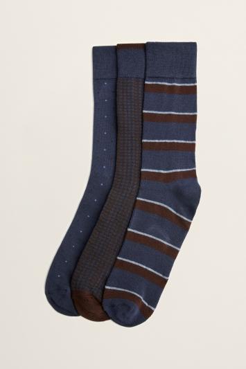 Navy & Wine 3-Pack Bamboo Socks