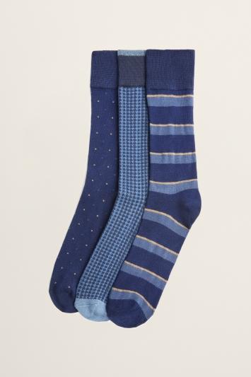 Navy & Blue 3-Pack Bamboo Socks
