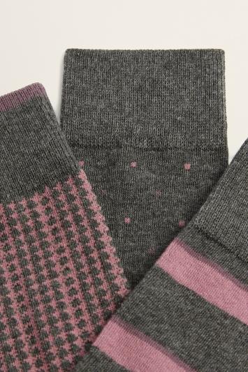 Moss Bros Grey & Pink 3-Pack Cotton-Blend Socks