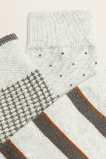 Grey & Brown 3-Pack Cotton-Blend Socks