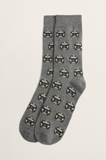 Grey Black Cab Motif Cotton-Blend Sock