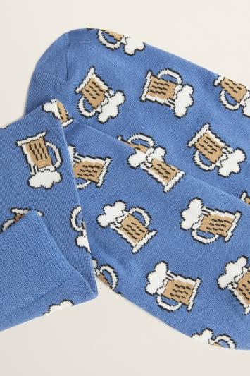 Blue Pint Motif Cotton-Blend Sock