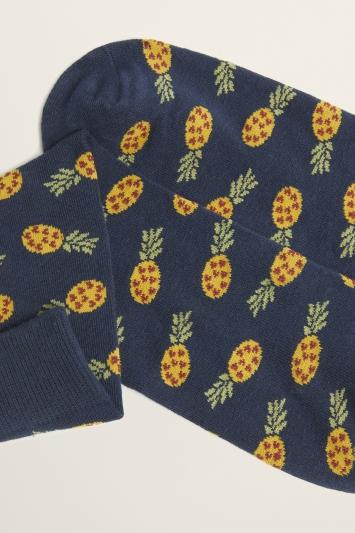 Navy Pineapple Motif Cotton-Blend Sock