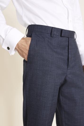 Moss 1851 Regular Fit Navy Puppytooth Trouser