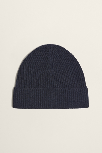 Moss Bros Navy Ribbed Lambswool-Blend Beanie