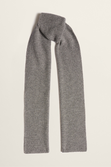 Moss Bros Grey Ribbed Lambswool-Blend Scarf