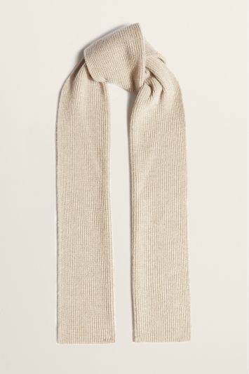 Moss Bros Oatmeal Ribbed Lambswool-Blend Scarf