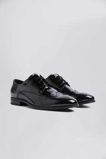 Moss London Kensington Black Patent Dress Brogue