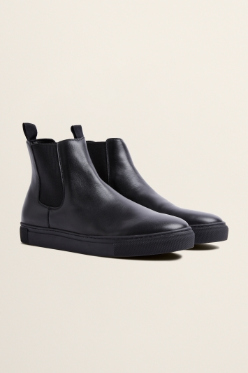 Moss Bros Hoxton Black Leather Chelsea Trainer