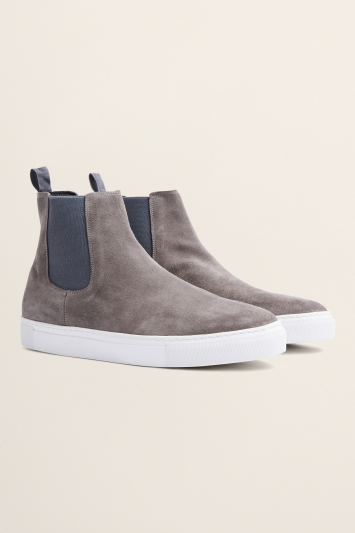 Moss Bros Hoxton Grey Suede Chelsea Trainer