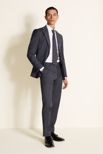 Tailored Fit Washable Grey Houndstooth Jacket