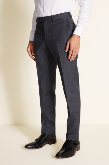 Tailored Fit Washable Grey Houndstooth Trousers