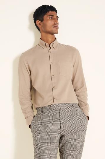 Slim Fit Camel Brushed Shirt