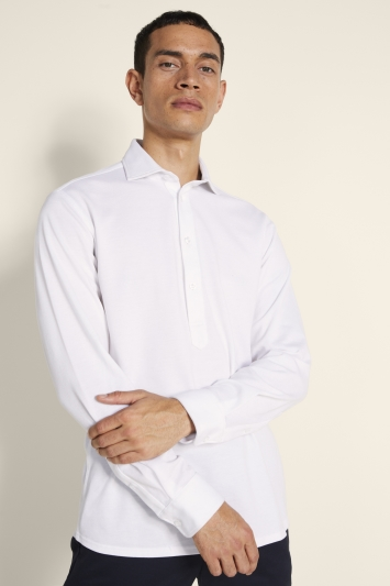 Tailored Fit White Knit Popover Shirt