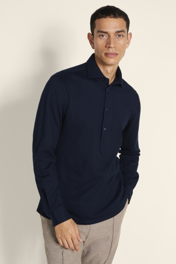 Tailored Fit Navy Knit Popover Shirt