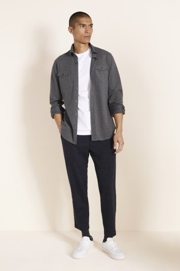 Tailored Fit Charcoal Knit Overshirt