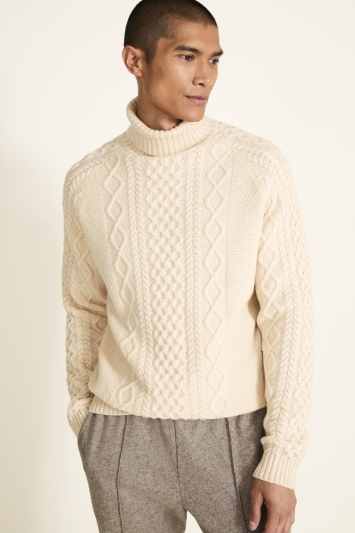 Ecru Chunky Cable Roll-Neck Jumper