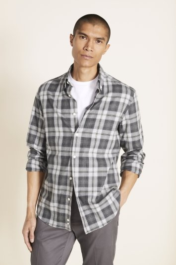 Tailored Fit Green Brushed Check Shirt