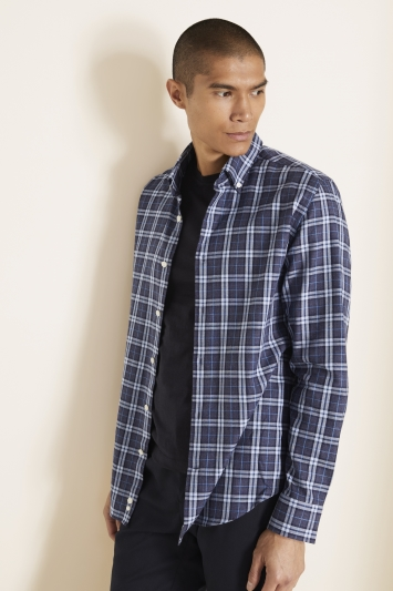 Tailored Fit Blue Brushed Check Shirt