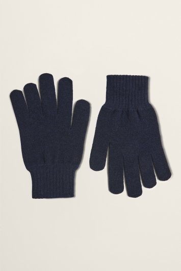Moss Bros Navy Knitted Lambswool-Blend Gloves