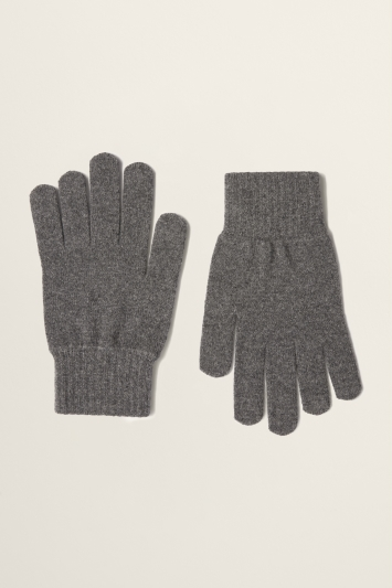 Moss Bros Grey Knitted Lambswool-Blend Gloves