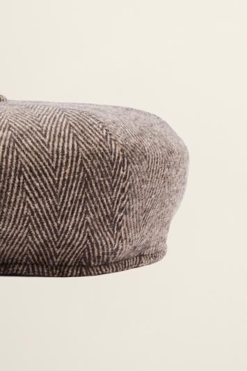 Moss Bros Brown & Ecru Jumbo Herringbone Wool Baker Boy Cap