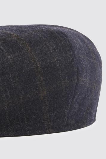 Moss Bros Navy with Brown Overcheck Wool Baker Boy Cap