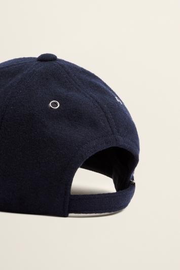 Moss Bros Navy Melton Wool Baseball Cap