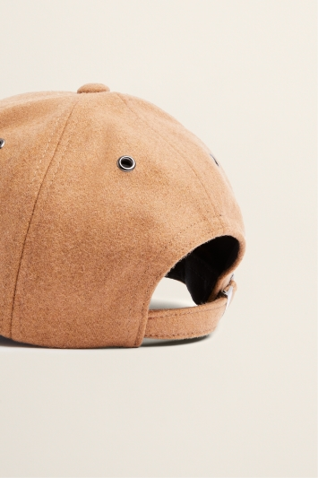 Moss Bros Camel Melton Wool Baseball Cap