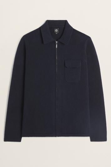 Navy Milano Knit Zip-Through Overshirt