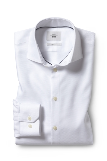 Slim Fit White Arrow Weave Zero Iron Shirt