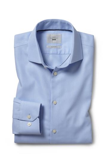Slim Fit Sky Arrow Weave Zero Iron Shirt