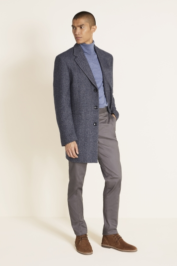 Moss 1851 Tailored Fit Mid Blue Herringbone Epsom Overcoat