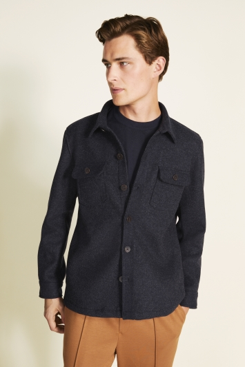 MB Navy Flannel Shacket