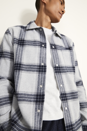 Tailored Fit Navy Check Overshirt