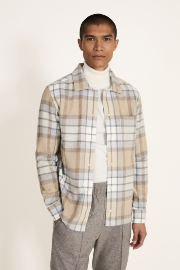 Tailored Fit Neutral Check Overshirt