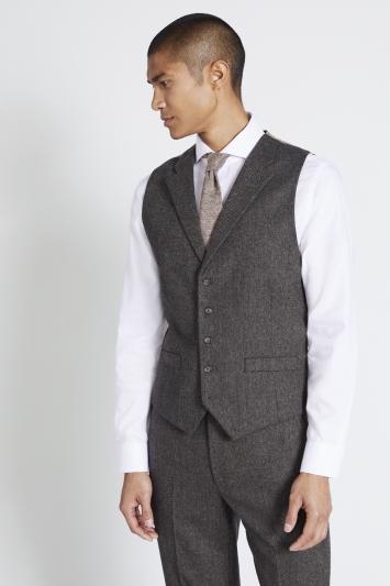 Moss 1851 Tailored Fit Olive Herringbone Waistcoat