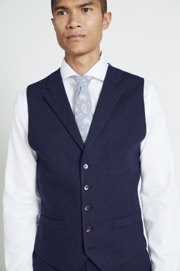 Moss 1851 Tailored Fit Ink Herringbone Waistcoat