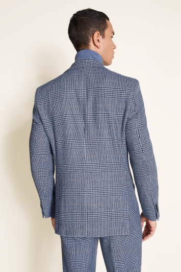 Moss 1851 Tailored Fit Light Blue Check Tweed Jacket
